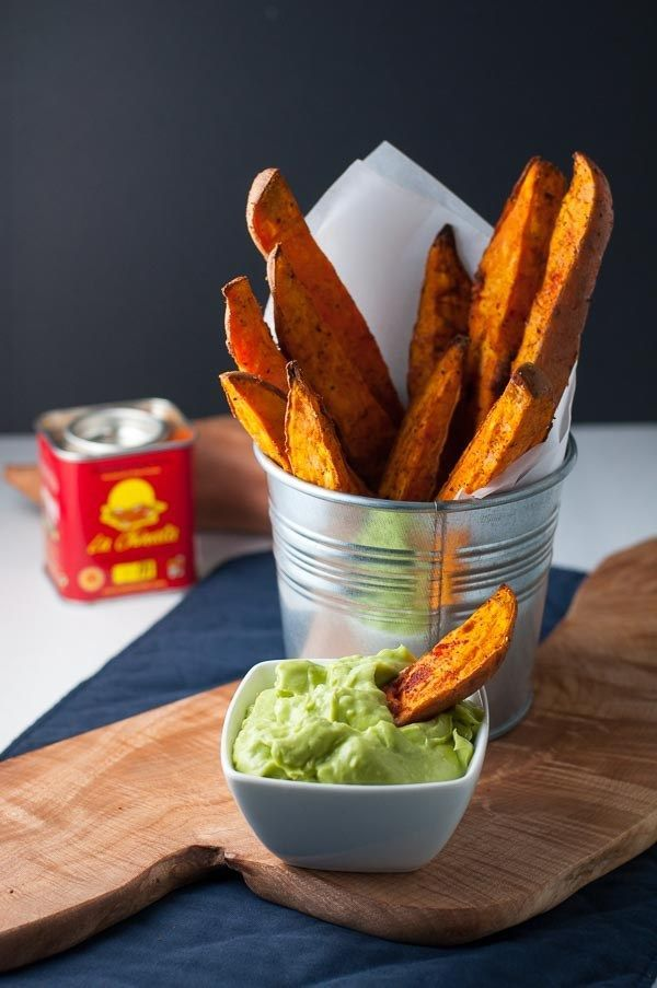 Smoky Sweet Potato Wedges with Avocado Garlic Aioli. Use this method to make Smoky Sweet Potato Wedges that won't stick to the pan! Serve with creamy dairy-free Avocado Aioli.|www.flavourandsavour.com