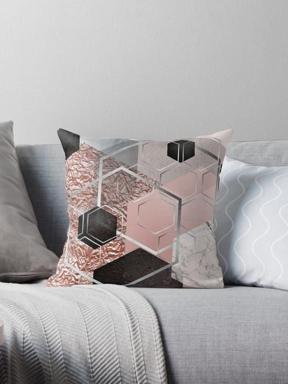 Geometric Decorative Cushion Blush Pink Grey And Black Abstract Geometric Throw Pillow Squar Decorative Cushions Pink And Grey Cushions Geometric Throw Pillows