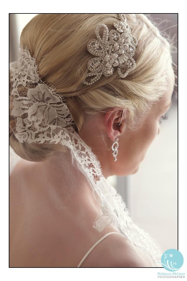 Wedding hair and detailed veil.  Robecca McLean Photographer