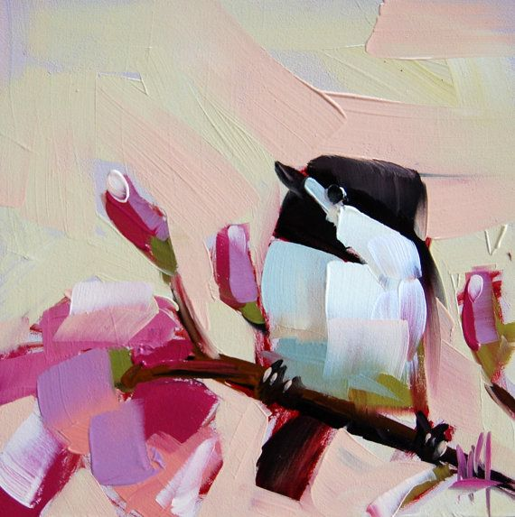 Chickadee no. 314 original bird and magnolia blossom oil painting by Moulton 6 x 6 inches on panel prattcreekart