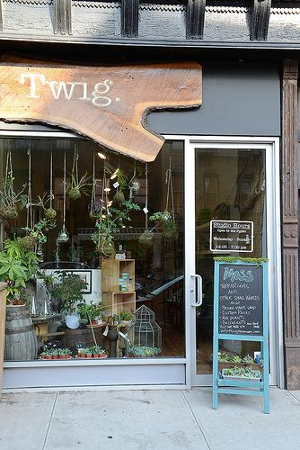 Very cute store front- Twig Terrariums Shop . Love the live edge wood used on the sign.