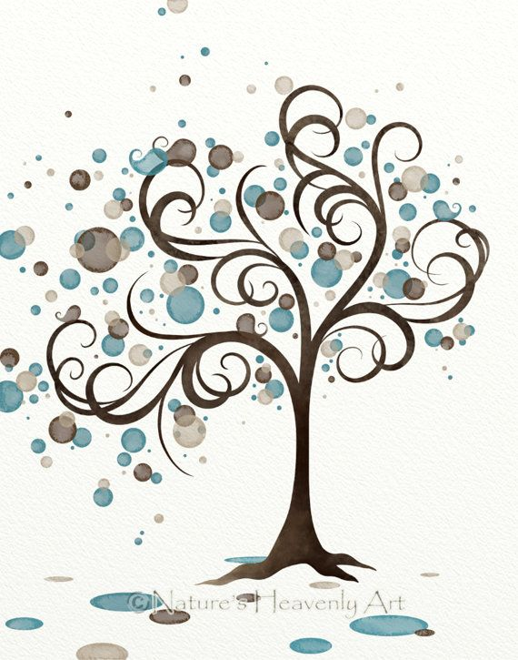 Blue brown circle whimsical tree wall art 11 x 14 wind for Blue and brown wall art