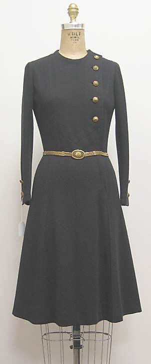 Early 1970s French Wool and Silk with Metal buttons. House of Chanel. Accession Number 2006.271.34a,b MET