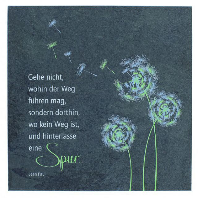 Wandrelief Pusteblume, Jean Paul 14,5 cm Schiefer - Motivationsgeschenke
