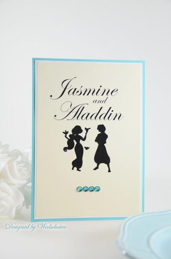 cinderellthemed wedding scroll invitations%0A Disney Couple Table Cards  Disney theme weddings  Fairy tale Weddings   Princess  Weddings   x   Set of
