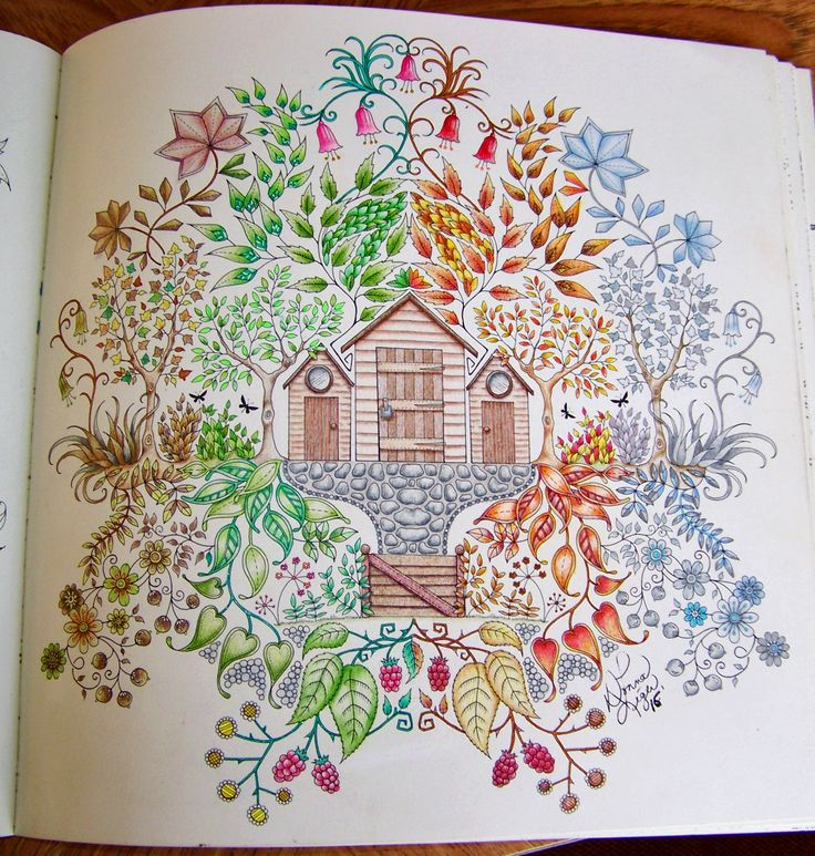 Adult Coloring Book Enchanted Forest Johanna Basford Shed Done As The Four Seasons With Prismacolor Scholar And Some Gel Pens By Donna Leger