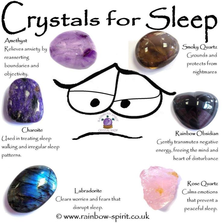 Rainbow Spirit crystal shop - Crystal healing poster suggestions of stones with healing properties to help with sleep problems and insomnia