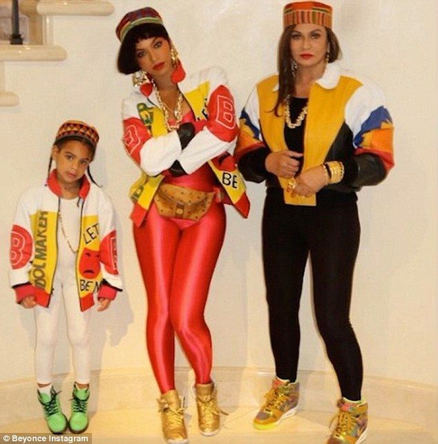 Three generations! Beyoncé Knowles-Carter, her daughter Blue Ivy, and mother Tina Lawson absolutely nailed their collective Salt N Pepa costume in Manhattan on Saturday