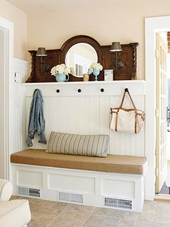 not sure about the bench, but i LOVE this idea for behind the front door...the beadboard with the shelf on top