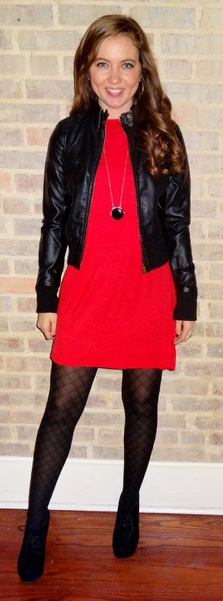 Red tunic dressed up with a black leather jacket, black fishnet tights, black booties, and a black necklace - Studio 3:19