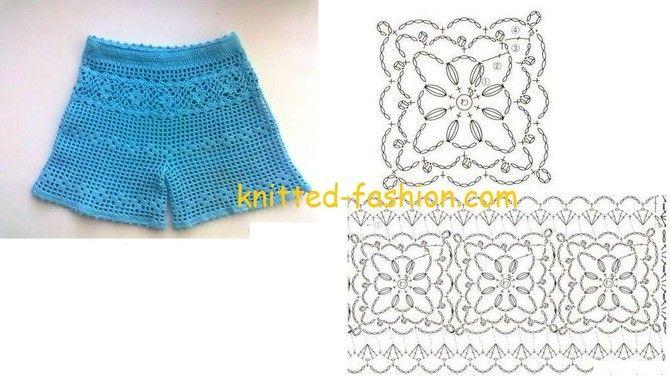 Бирюзовые шорты,вязание,вязание крючком,схемы вязания,схемы вязания крючком