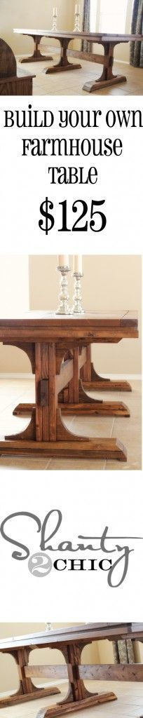 DIY Dining Table ~ Triple Pedestal Farmhouse - go green - instead of making top, repurpose old door & use salvaged wood for base