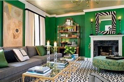 contemporary modern living room with bright green walls - color of the month for march 2012- gorgeous green home decor and design ideas