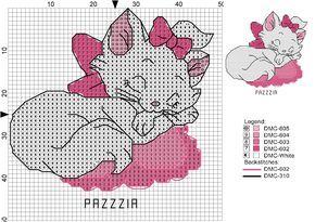 Risultati immagini per schema punto croce aristogatti minou
