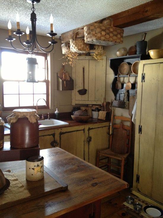Farmhouse Prim Mustard Kitchen... very nice!