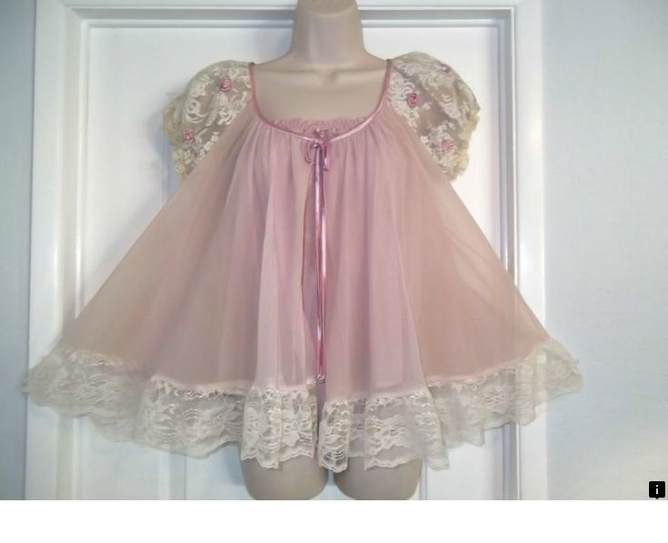 lots of Sissy PINK Ruffles M-2XL Neljen Vintage Tricot  Baby Doll Slip Dress