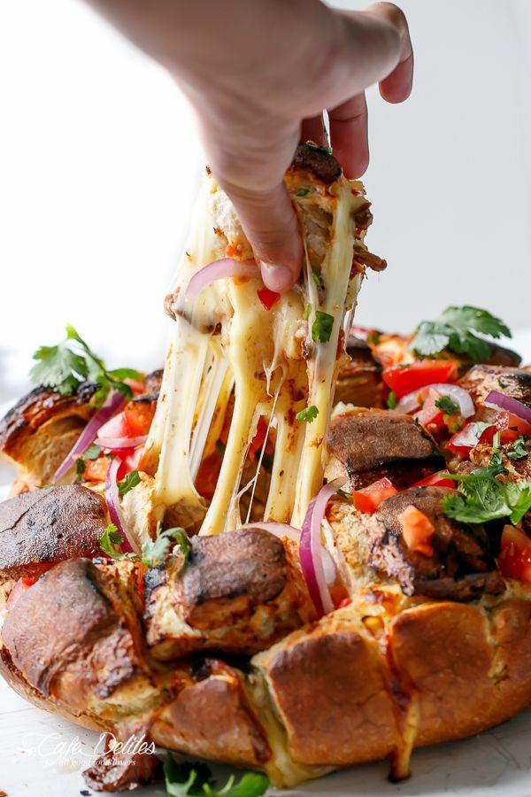 Cafe Delites | Carne Asada Chipotle Pull Apart Bread | http://cafedelites.com