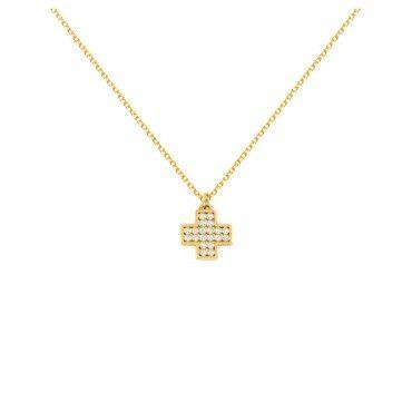 Ένα μοντέρνο κολιέ ισοσκελής σταυρός από χρυσό Κ14 με 20 διαμάντια brilliant σε γυαλιστερό φινίρισμα | Κολιέ ΤΣΑΛΔΑΡΗΣ στο Χαλάνδρι #διαμάντια #βαπτιστικός #σταυρός #κορίτσια