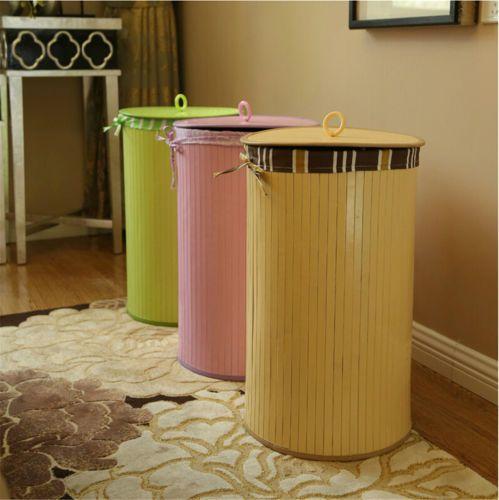 Бамбук круглый прачечная и ванная комната грязная одежды чистый хранения корзина