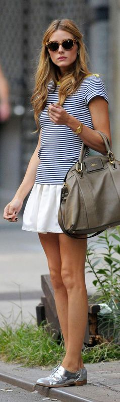 Don't like the shoes but the rest of the outfit is really cute. I would tuck in the short and wear a skinny belt on the skirt with some really cute flats.