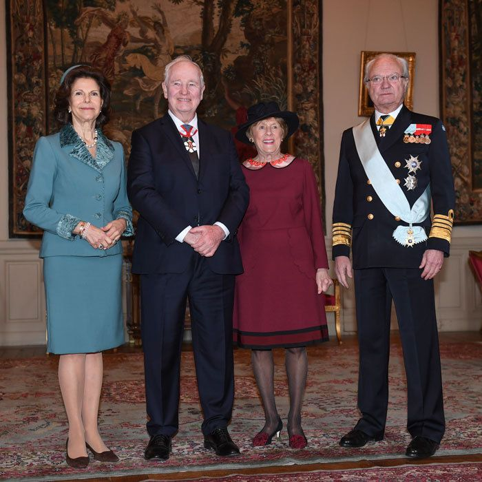 King Carl Gustaf and Queen Silvia of Sweden posed with the Governor General of Canada, David Johnston, and his wife Sharon Johnston at the Royal Palace in Stockholm, Sweden.<br><br>  Photo: FREDRIK SANDBERG/AFP/Getty Images