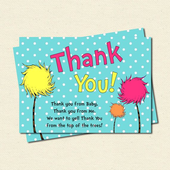 Thank Yous, The Lorax, Truffala Trees, Dr Seuss By