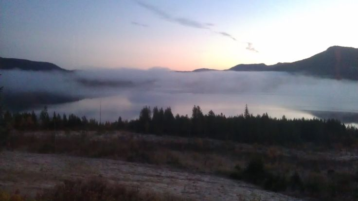 Clouds lying on Skrede Lake in the early morning
