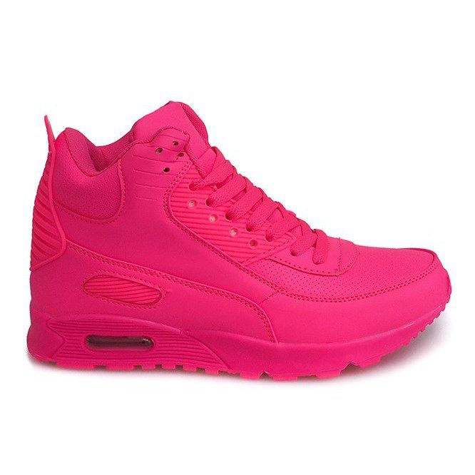 Wysokie Sneakersy B3701 Rozowy Rozowe High Sneakers Sneakers Pink Shoes