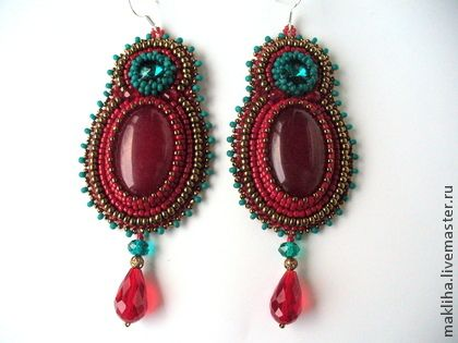 """Серьги """"Сомалийская принцесса"""" - ярко-красный,красно-зеленый,восток,восточный стиль"""