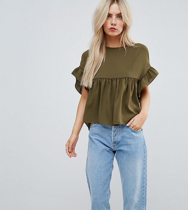 Buy Cheap Cheapest Price Smock Top with Ruffle Sleeve - Wine Asos Outlet With Mastercard Cheap Discount Sale b9MKKz