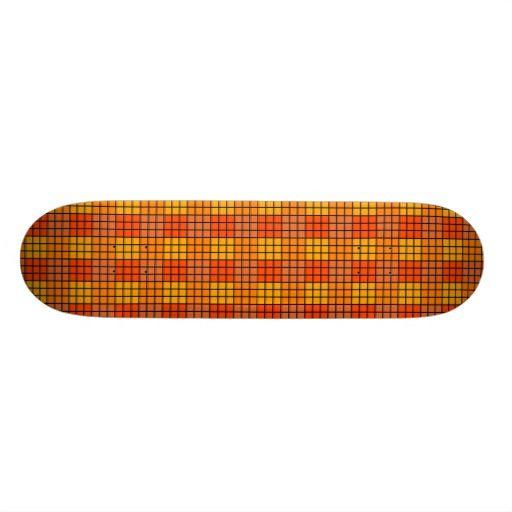 Orange grid tiled pattern skateboards