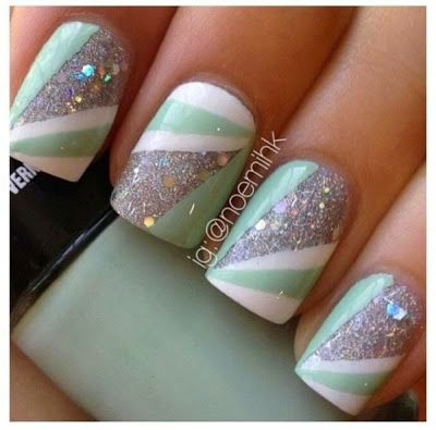 Fashion For Women: Sea green white nail polish