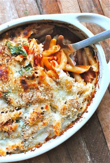 PENNE BAKE WITH SPINACH AND TOMATOES (about 10 points plus if divided into 5 servings)