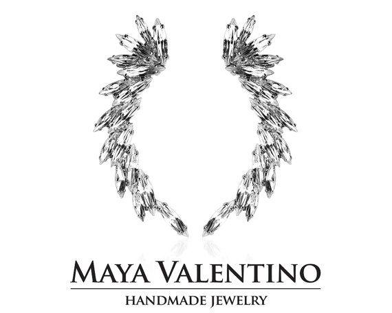 Silver Ear cuff cuff earrings Bridal ear cuff by MayaValentino