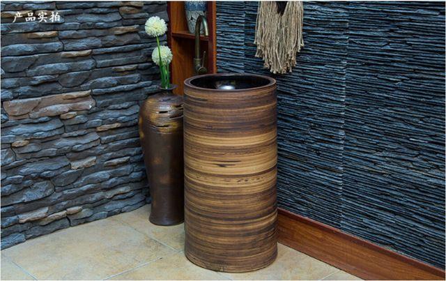 Cuarto de baño de cerámica Pedestal independiente lavabo guardarropa redondos de porcelana de lavado lavabo LZ-458