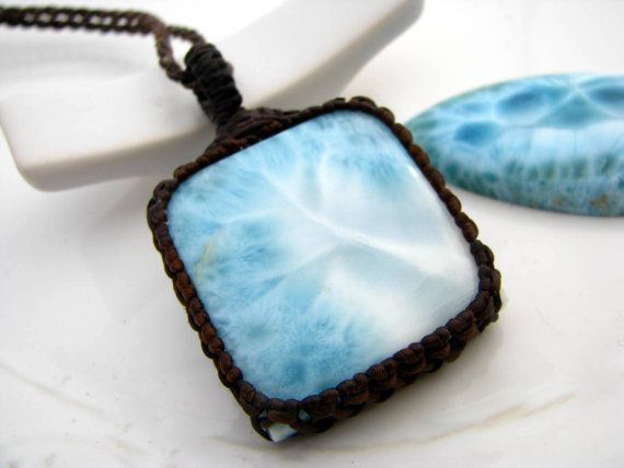 Larimar jewelry, Larimar necklace,  larimar pendant, Wrapped stone pendant, Ocean blue, Sea jewelry, Dominican Republic, Peace, Zen