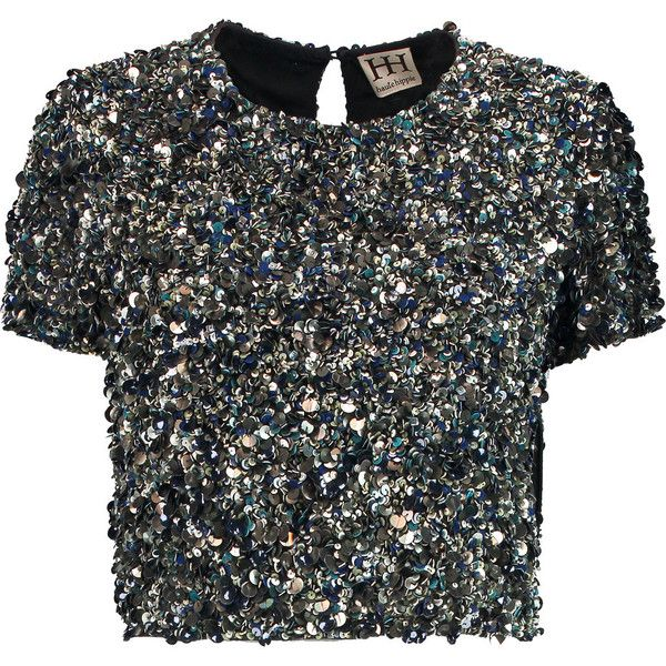 Haute Hippie Cropped sequined silk top (1.245 RON) ❤ liked on Polyvore featuring tops, gunmetal, embellished crop top, crop top, keyhole top, sequin embellished top and haute hippie top