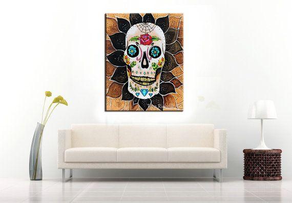 Sugar skull, wood art, wood burn, dia de los muertos, poster, print, skull, skull tattoo, mandala, sugar skull decor, wall art, mexican art