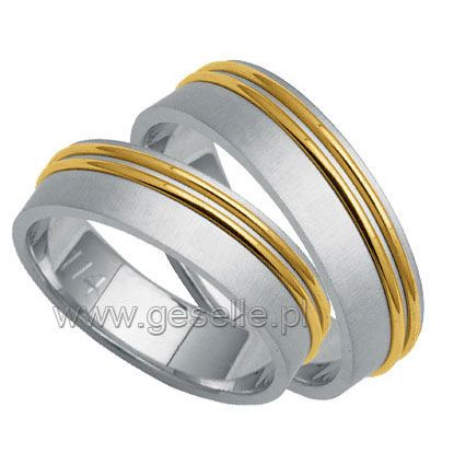 Obrączki ślubne z białego i żółtego złota | OBRĄCZKI ŚLUBNE  Dwukolorowe złoto od GESELLE Jubiler