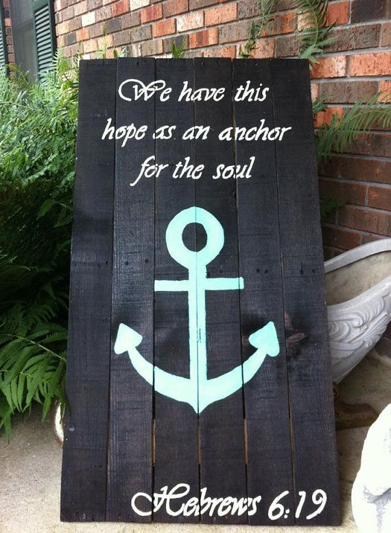Hand Painted Pallet/ reclaimed wood LARGE Anchor Sign on Etsy, $50.00