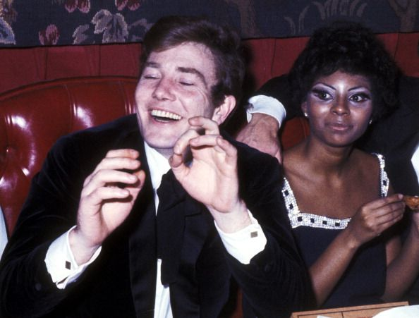 Actor Albert Finney and actress Leslie Uggams attend A Day in the Death of Joe Egg Opening Night Party on February 1 1968 at Canterbury Restaurant in...