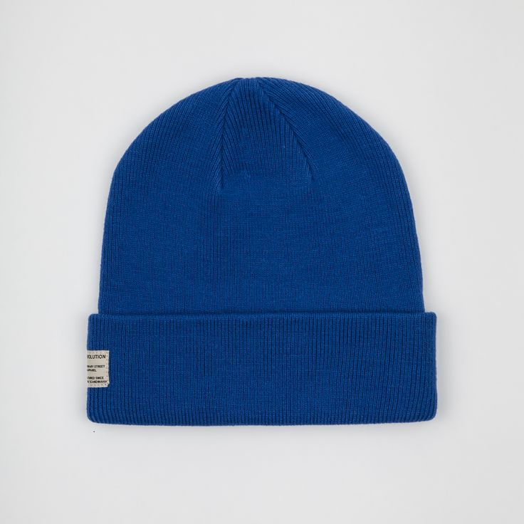 RVLT - men's fashion. Blue new take on the RVLT basic beanie in solid colors - it is made of a cashmere blend.