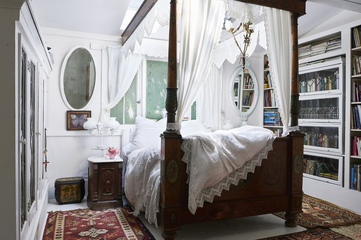 Bedroom Envy.  White lace bedding