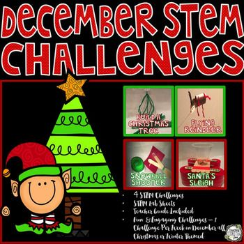 STEM Challenges for December or Christmas.  4 different STEM challenges, enough for 1 challenge per week.   Have fun while learning building the tallest Christmas Tree, constructing a Flying Reindeer, Snowball Shooter, and build Santa's Sleigh.  STEM challenges to engage all students.