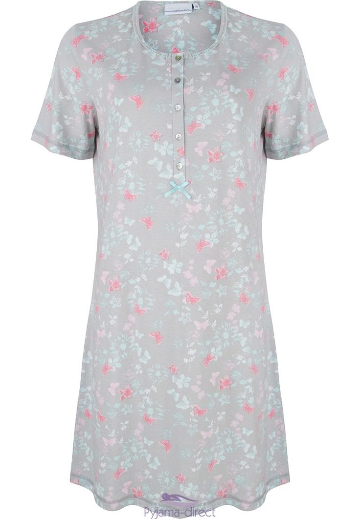 "You can feel pretty and be comfortable in this Pastunette ""floral garden"" beige & aqua blue short sleeved nightdress with little flowers and butterflies pattern."