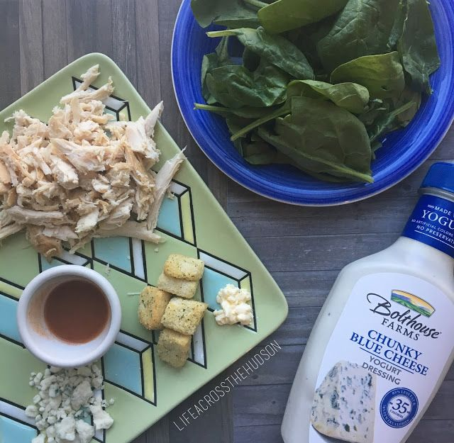 Healthy Buffalo Chicken Salad | 4 Weight Watchers SmartPoints | Bolthouse Farms Blue Cheese Yogurt Dressing, Frank's Red Hot