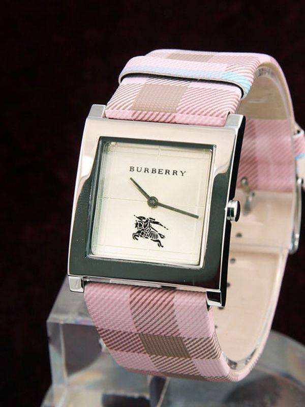 Pink Burberry Womens Check Watch 415