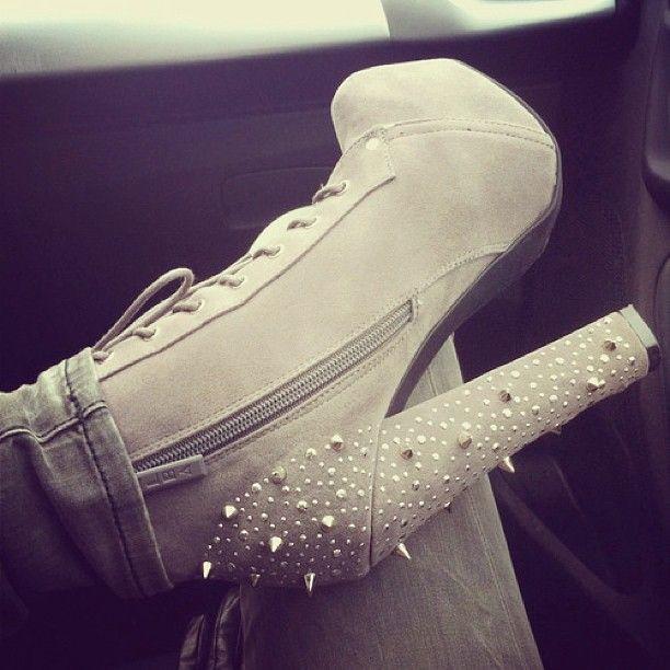High heel studded boots, grey #gray lace up......#milliondollarshoppersdanielle