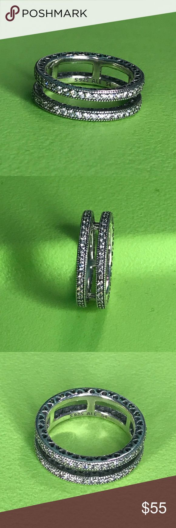 Double Hearts of Pandora Ring PRICE IS FIRM!! Never worn. Pouch included. Pandora Jewelry Rings
