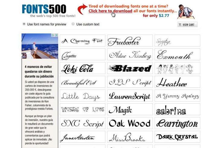Fonts 500 es una página que reúne cinco centenares de tipografías, fuentes de texto, que podemos descargar y utilizar en nuestros proyectos y trabajos.